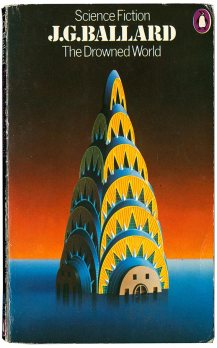 Chrysler Building in Surrealist illustration shown submerged in water up to spire