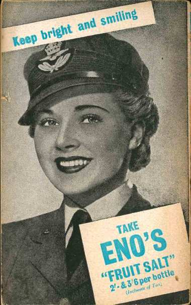 Eno's Fruit Salts advertisement in 1940s Penguin shows smiling female soldier