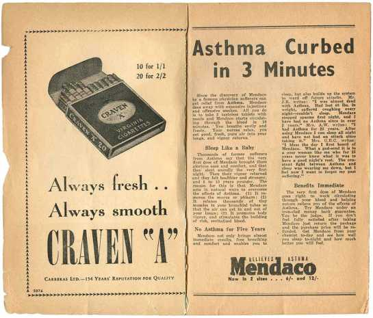 Wartime ads inside Penguin book of Craven A cigarettes plus Mendaco asthma cure