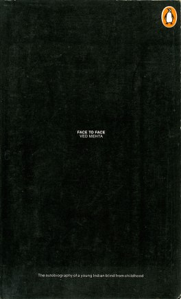A book written by a blind person has cover set in very small white type on jet black background