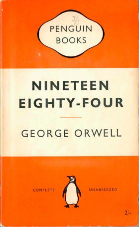 1950s British Penguin paperback of Orwell's 1984 show typographic cover design