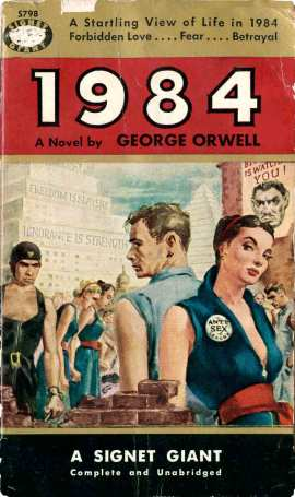 1950s US Signet paperback cover shows literal illustration of Orwell's 1984