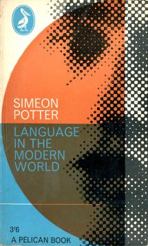 book cover with geometric shapes and abstracted photo of talking man