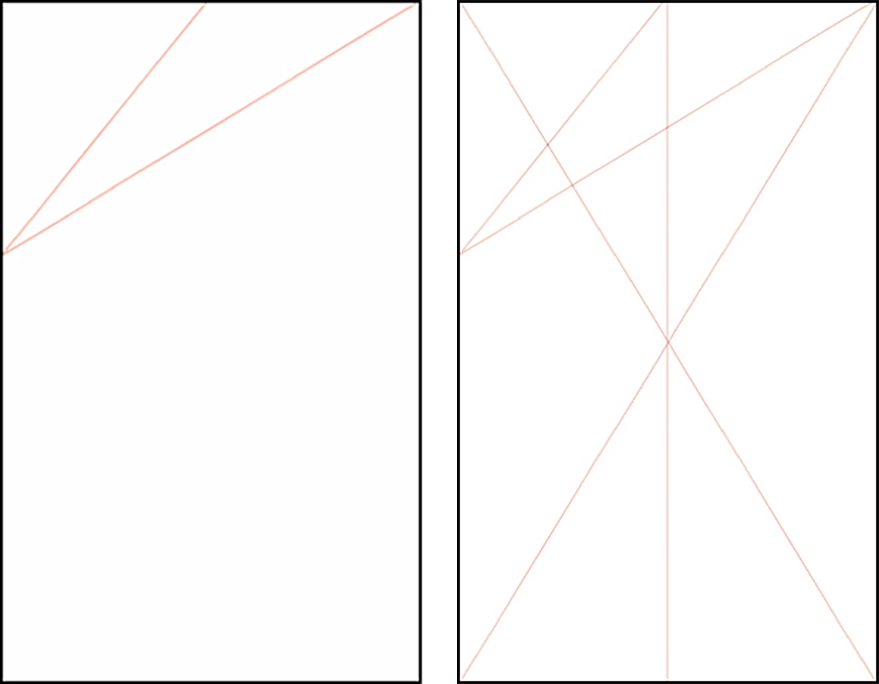 Designs showing the first and second steps in building the Marber grid