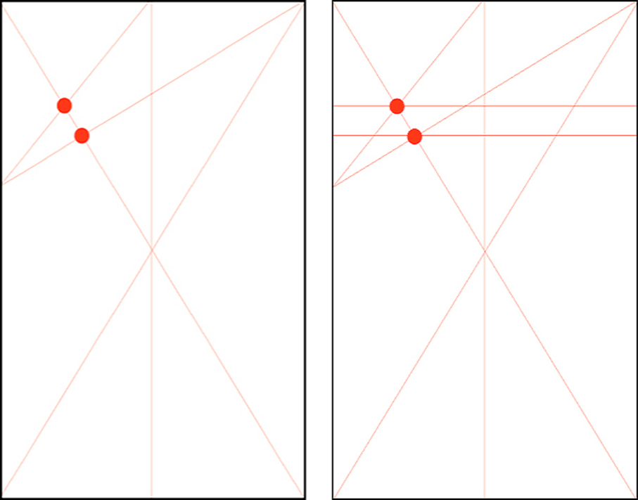 Designs showing the third and fourth steps in building the Marber grid