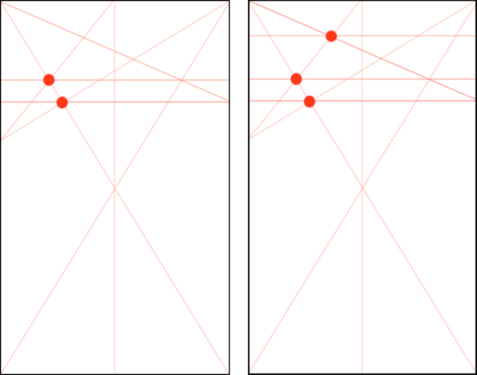 Designs showing the fifth and sixth steps in building the Marber grid